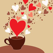 Romantic coffee cup with flying hearts — Stock Vector