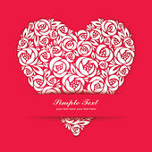 Floral heart with paper-cut effect — Stock Vector