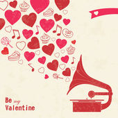 Vintage Valentine's day card with old gramophone, hearts and sweets — Stockvector