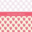Romantic seamless patterns set with pink hearts — Stock Vector