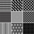 Geometric seamless monochrome patterns set — Stock Vector