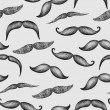 Stock Photo: Mustache hand drawn seamless pattern