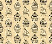 Cupcake baking seamless hand drawn pattern on the beige background — Vector de stock