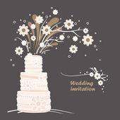 Vintage Wedding invitation card template. Wedding cake and flowers illustration — Stock Vector