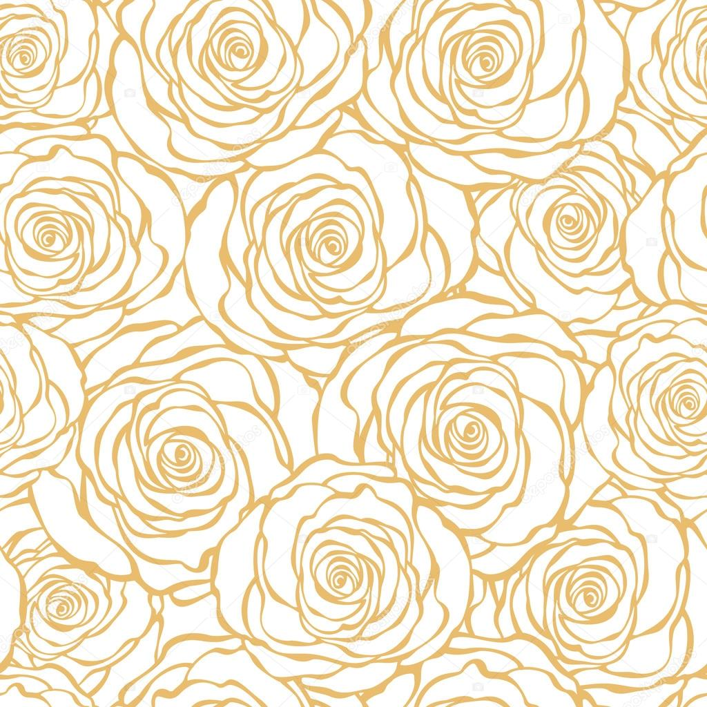 art deco floral seamless pattern with roses stock. Black Bedroom Furniture Sets. Home Design Ideas