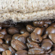 Stock Photo: Macro of Coffee Beans and Bag