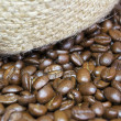 Stock Photo: Coffee Beans and jute bag texture