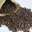 Stock Photo: Jute bag and coffee beans
