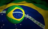 Flag and Soccer Ball Brazil 2014 — Stock Photo
