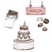 Chocolate. Set of sweets — Stockvektor