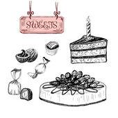 Sweets. Dessert. — Stock Vector