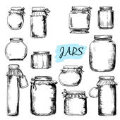 Jars. Set of illustrations — Stock Vector