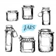 Jars with labels — Stock Vector
