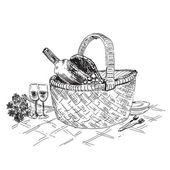 Picnic basket with wine and glasses — Stockvektor