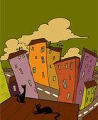 Cat city — Stock Vector
