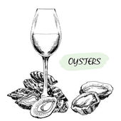 Oysters and wine glass — Stock Vector