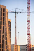Construction site with cranes. In vertical format. — Stock Photo