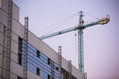 Construction site with crane whit purple sky at sunset. — Stock Photo