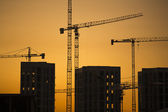 Cranes at sunset. Industrial construction cranes and building silhouettes over sun at sunrise. — 图库照片