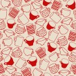 Seamless pattern of red cups — Stock Vector