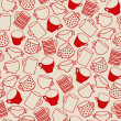 Seamless pattern of red cups — ストックベクタ