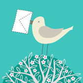 Image of bird with a letter in its beak — Stock Vector