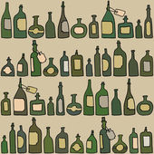 Seamless pattern with bottles — Stock Vector