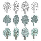 Collection of trees. cartoon vector illustration. — Stock Vector