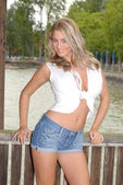 Blond busty topmodel posing in hot pants at a lake — Stock Photo
