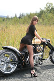 Attractive model on a custombike — ストック写真