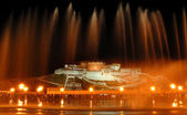 Night scene of the potala palace with fountain — Stock Photo