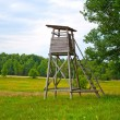 Stock Photo: Hunt tower near forest