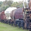 Stock Photo: Abandoned old railway wagons at station