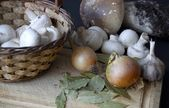Still life with mushrooms, onion, spices — Stockfoto