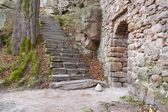 Medieval castle Bolczow ruins in forest, Poland — Stock Photo
