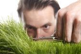 Young man cuts English lawn — Foto de Stock