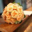 Stock Photo: Bridal bouquet in Church