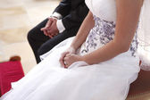 Bride and groom at the wedding ceremony — Stock Photo