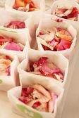 Rose petals bag — Zdjęcie stockowe