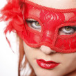 Junge Frau with roter Carnival Mask — Stock Photo #37606023