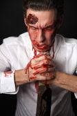 Psychopath with bloody knive — Foto Stock