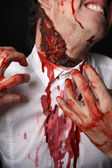Psychopath scratches his neck — Stock Photo