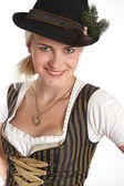 Young blonde woman in traditional costume — Stock Photo