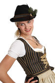 Young blonde woman in traditional bavarian costume — Stock Photo