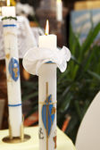 Burning candle at the communion — Foto Stock