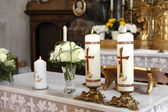Burning candle at the communion — Stok fotoğraf