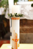 Burning candle at the communion — Stock Photo