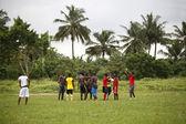 Africký fotbalový tým během tréninku — Stock fotografie