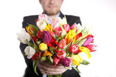 Man holds a hand full of colorful tulips — Stock Photo