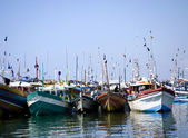 Fisher boats at the beach in the morning light — Stock Photo